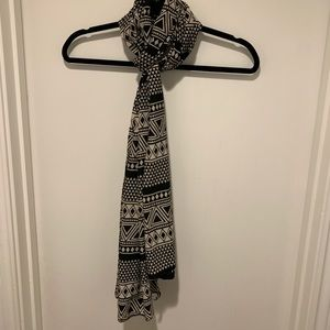 Silky Black and Cream Printed Scarf